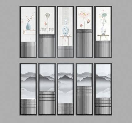 夹丝玻璃, 花格隔断, 屏风组合, 新中式