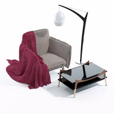 单人沙发, 茶几, 落地灯, 中式