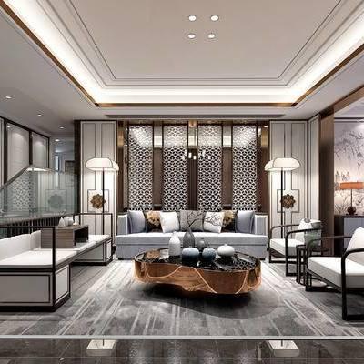 新中式, 会客厅, 沙发, 茶几, 茶具, 单椅, 落地灯, 边柜, 装饰柜, 玄关柜, 摆件, 陈设品