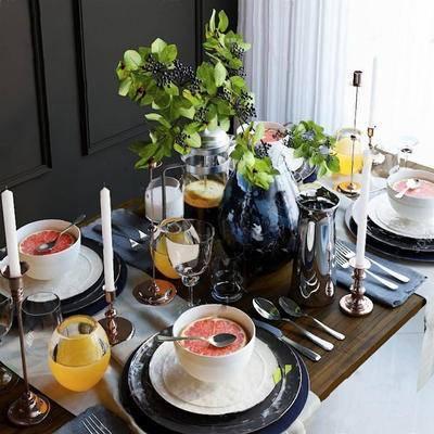 欧式, 餐桌椅组合, 摆件组合, 餐具组合