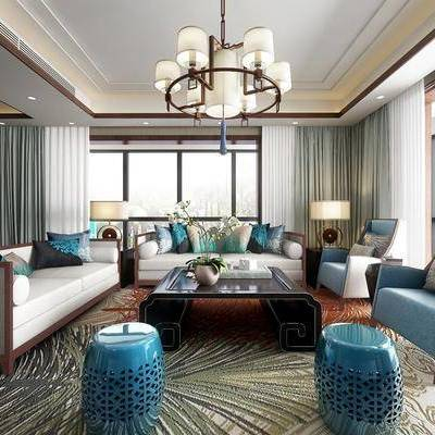 中式别墅会客厅, 中式, 会客厅, 客厅, 中式客厅, 中式吊灯, 中式沙发