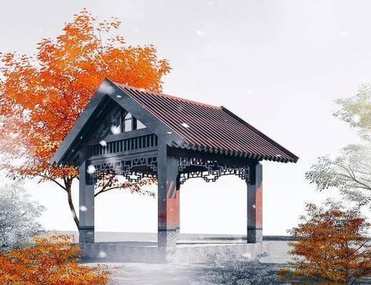 园林景观, 凉亭, 古建筑