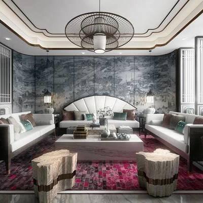 新中式, 新中式会客厅, 会客厅, 中式沙发组合, 中式吊灯, 茶具, 花瓶
