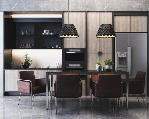 桌椅组合, 餐桌, 餐椅, 单人椅, 盆栽, 绿植植物, 吊灯组合, 现代轻奢