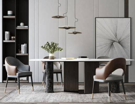 餐厅, 桌椅组合, 餐桌椅组合, 吊灯, 装饰画, 书柜书籍, 装饰品, 陈设品, 现代
