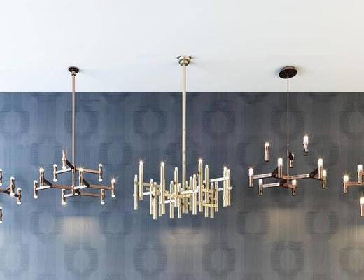 现代简约, 吊灯, 灯具组合, 现代吊灯
