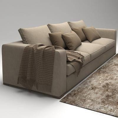 多人沙发, 布艺沙发, 地毯, 现代