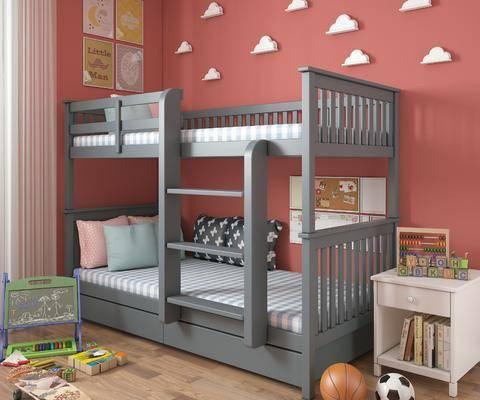 双层床, 儿童床, 现代儿童床, 现代