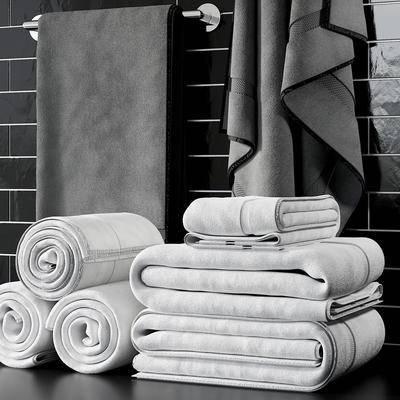卫浴砖, 毛巾, 卫浴架, 现代