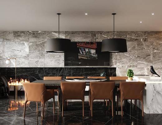 餐厅, 桌椅组合, 沙发组合, 装饰画, 挂画, 酒柜组合, 书桌组合, 走廊, 现代