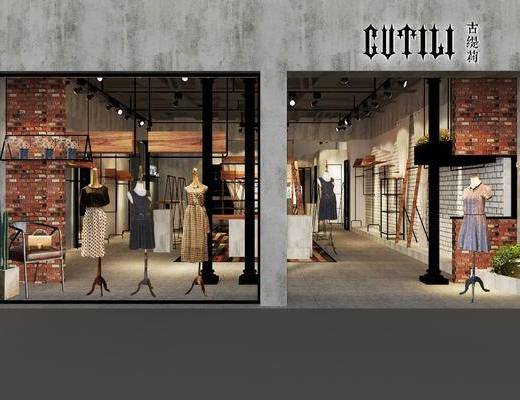 服装店, 衣架, 服饰, 门面, 门头, 吊灯