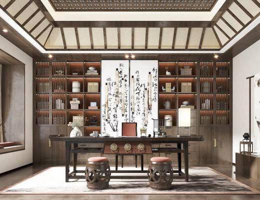 茶室, 书桌, 椅子, 凳子, 茶柜, 书柜, 茶具, 挂画, 桌椅组合, 摆件组合