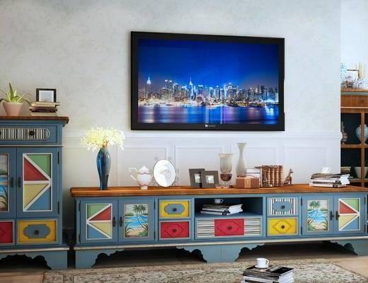 电视柜组合, 装饰柜, 边柜, 摆件, 装饰品, 陈设品, 地中海