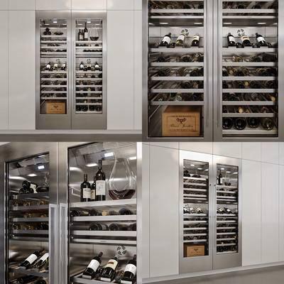 酒柜, 金属酒柜, 恒温酒柜, 现代, 红酒, 酒瓶
