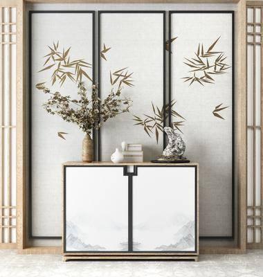边柜, 玄关柜, 陈设品, 花瓶, 新中式, 中式