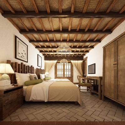 酒店客房, 双人床, 床头柜, 台灯, 装饰画, 挂画, 边柜, 书桌, 单人椅, 吊灯, 新中式