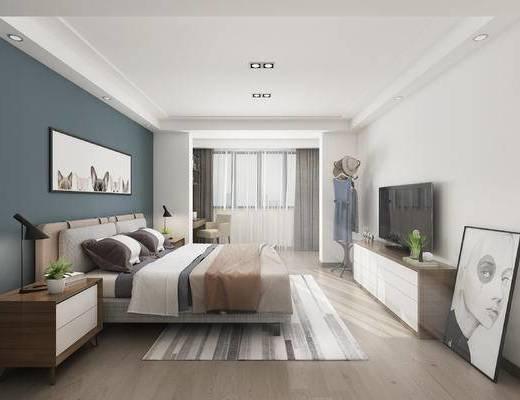 北欧, 卧室, 双人床, 电视柜, 挂画, 床头柜