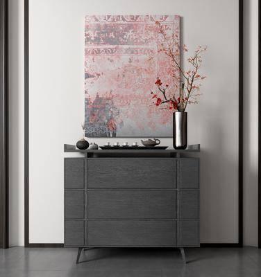 边柜, 玄关柜, 柜架组合, 摆件组合, 装饰画, 花瓶