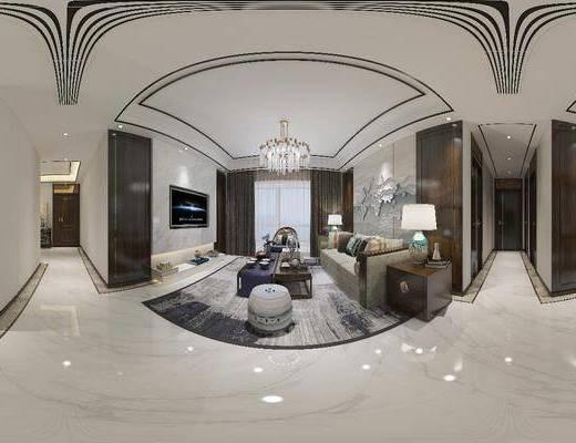 新中式客廳, 客廳, 餐廳, 餐桌椅, 沙發組合