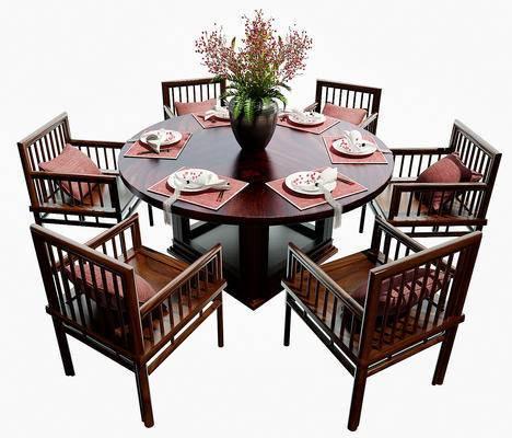 桌椅组合, 餐桌椅, 餐具, 花瓶, 桌子, 椅子, 新中式