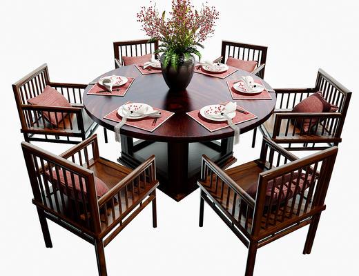桌椅组合, 餐桌椅, 餐具, 花瓶, 桌子, 椅子
