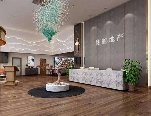 新中式售楼处, 前台, 洽谈区, 桌椅, 沙发