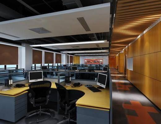 办公, 桌椅, 组合, 现代