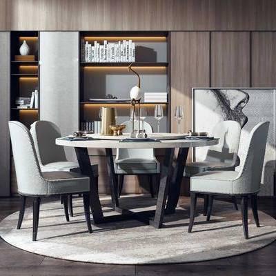 桌椅組合, 餐桌, 餐椅, 單人椅, 餐具, 裝飾柜, 書籍, 裝飾畫, 掛畫, 現代輕奢