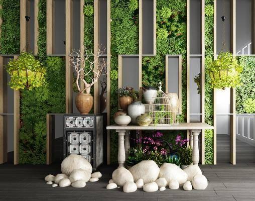 植物墙, 植物盆栽, 园林小品, 石头组合, 摆件, 装饰品, 陈设品, 现代
