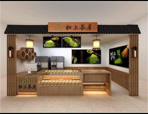 日式, 甜品店, 展柜, 展厅, 吊灯