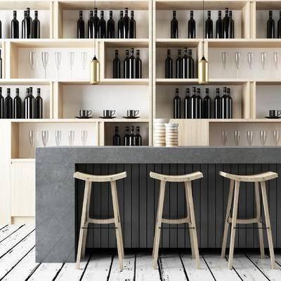 现代吧台, 吧椅, 酒柜, 红酒, 现代