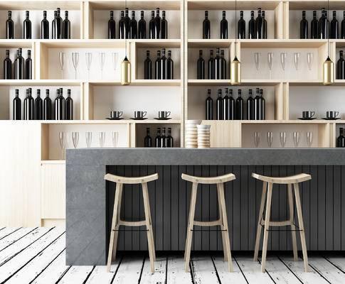 现代吧台, 吧椅, 酒柜, 红酒