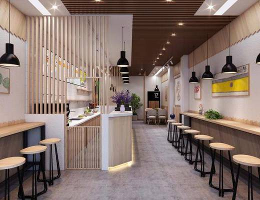 奶茶店, 前台, ?#21830;? 吧椅, 单人椅, 吊灯, 装饰画, 挂画, 餐桌, 餐椅, 厨具, 橱柜, 装饰品, 陈设品, 现代