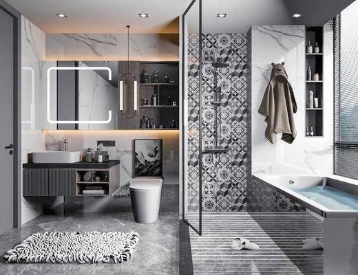 卫浴, 洗浴组合, 浴缸, 洗手盆, 吊灯, 马桶