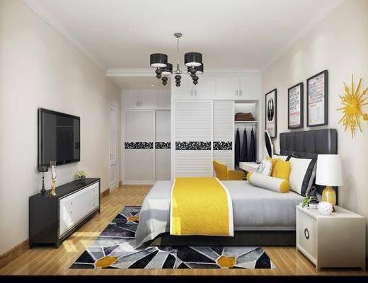 臥室, 床具組合, 掛畫組合, 邊柜組合, 衣柜服飾, 現代