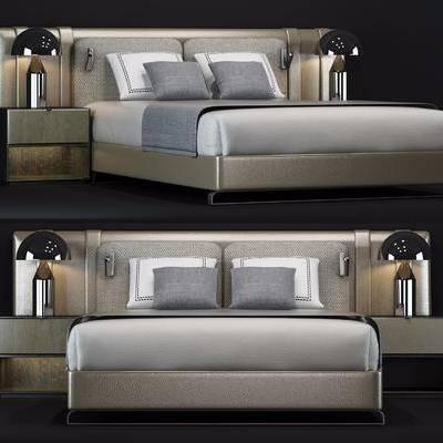 双人床, 床头柜, 台灯, 现代