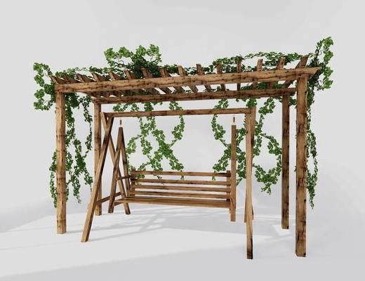 藤椅, 秋千椅, 植物藤蔓, 花架