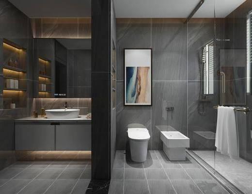 衛生間, 馬桶, 洗手臺組合, 花灑組合, 裝飾鏡組合, 現代