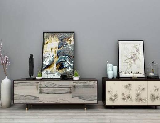 电视柜, 中式电视柜, 玄关柜, 端景台, 中式玄关柜, 边柜, 装饰柜, 装饰画