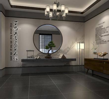 展厅, 展览, 吊灯, 墙饰, 落地灯, 边柜, 摆件组合
