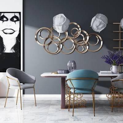 餐桌椅, 装饰画, 书架, 墙饰, 吊灯, 北欧餐厅, 餐厅, 北欧