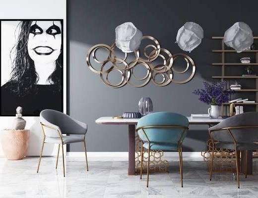 餐桌椅, 装饰画, 书架, 墙饰, 吊灯, 北欧餐厅, 餐厅