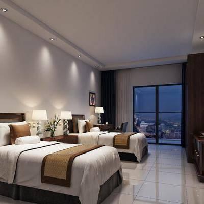 单人床, 床头柜, 台灯, 电视柜, 现代, 衣柜, 书桌, 单人椅, 单人沙发