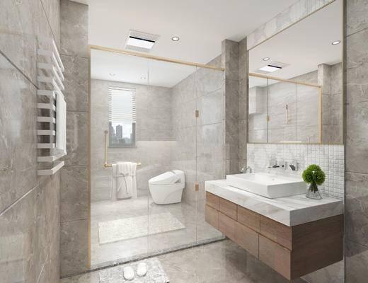 卫生间, 洗手台, 镜子, 淋浴间