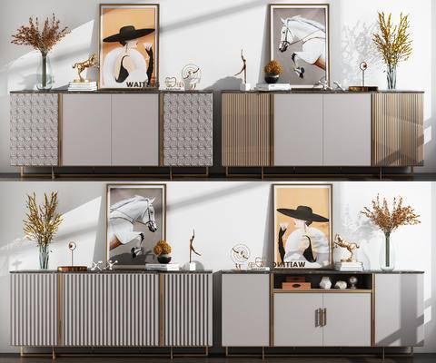 装饰柜组合, 边柜, 柜架组合, 摆件组合, 装饰画