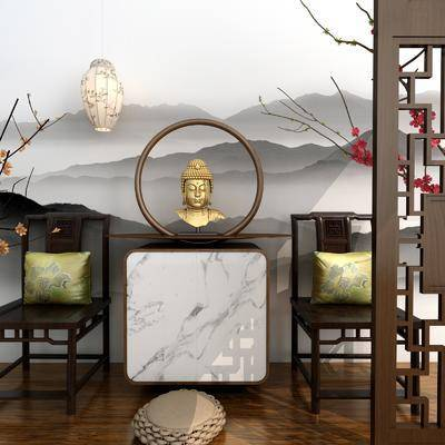 边柜, 佛象, 花卉, 单人椅, 吊灯, 新中式