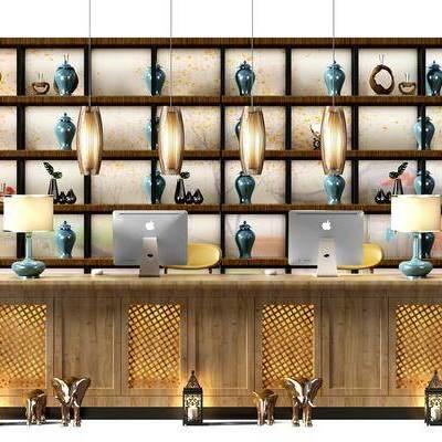 中式吧台装饰柜组合, 忠实, 吧台, 装饰柜, 吊灯, 电脑