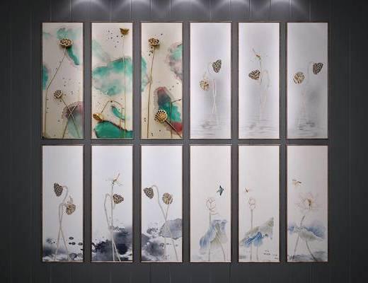 新中式, 挂画, 装饰画, 植物画, 荷花