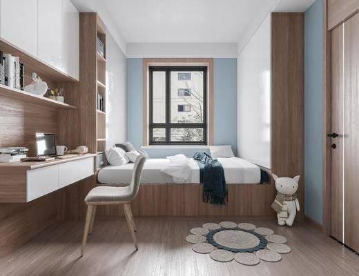 北欧卧室, 榻榻米, 办公桌, 单椅