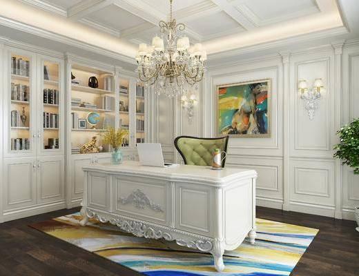 书柜, 书桌, 单人椅, 壁灯, 吊灯, 盆栽, 装饰品, 陈设品, 书籍, 装饰画, 挂画, 欧式